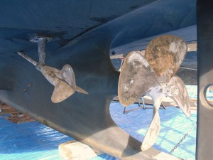 Propellers on Sea Eagle are in good shape after two years.  Both are missing zinc anodes.