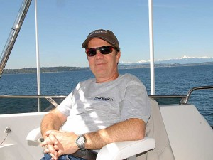 Captain Boyd loving life underway on the Sea Eagle.