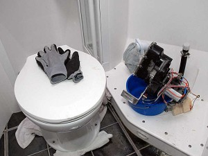 Fixing the d*mn toilet on a Nordhavn 47