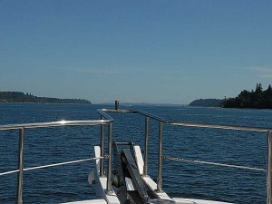Running north in Colvos Passage, with Mt Baker and Blake Island ahead.