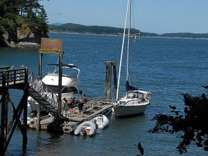 Park Dock at Matia Island with Sucia Island and Echo Bay in the background.