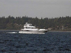 Nordhavn 86, Serendipity heading north in Admiralty Inlet.