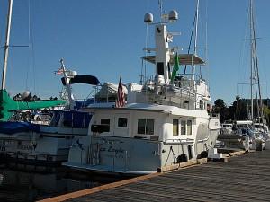 Sea Eagle squeezes into a tight slip at Friday Harbor Marina.