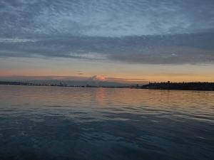 The Sun Sets over Mt. Rainer and Tacoma as Sea Eagle heads home.
