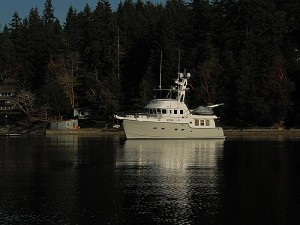Nordhavn 47, Sea Eagle anchored in Wollochet Bay.