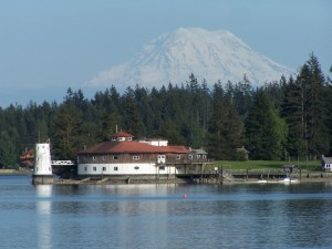 Mount Rainier and Tanglewood Island Lighthouse before demolition.