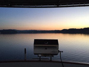 Time for some BBQ as the Sun Sets on flat calm waters.