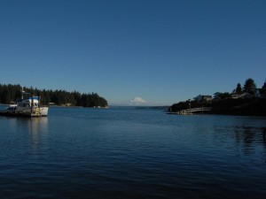 Mount Rainier framed perfectly in the entrance to Filucy Bay.