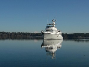 Nordhavn 47, Sea Eagle anchored in Totten Inlet.