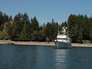 Sea Eagle anchored in McLane Cove.  You can see the last guy's wreck on the beach to the left.
