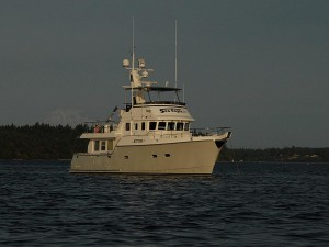Nordhavn 47, Sea Eagle, anchored at Hope Island.