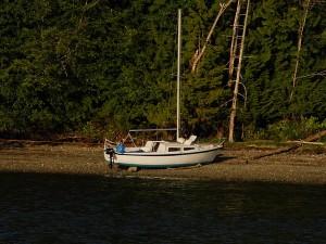 Sailboat hard aground on Hope Island.