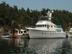 Nordhavn 47, Sea Eagle on the float at Reid Harbor.