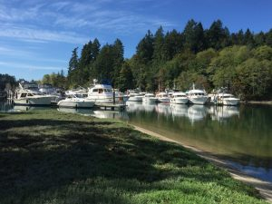 Forty Five Yachts rafted up at Island Home for the Olympia Yacht Club Foofaraw event.
