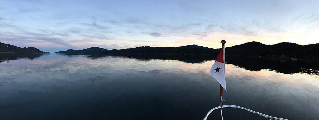 Panoramic View of East Sound while anchored at Eastsound