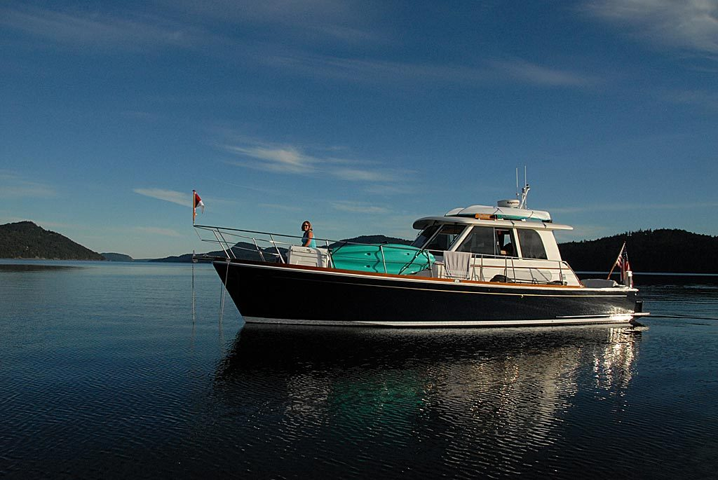 Grand Banks Eastbay 39, Yes Please, anchored in East Sound, Orcas Island.