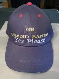 Grand Banks ball cap, custom embroidered by Belmore Custom Embroidery